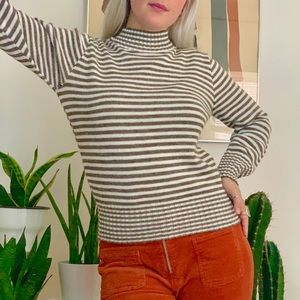 Vintage 70s mod striped mock neck sweater S/M